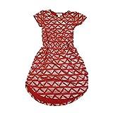 Lularoe Kids Mae Elegant Collection Geometric Red Metallic Silver Pocket Dress Size 4 fits Kids 3-4