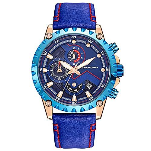 WNGJ Relojes Deportivos para Hombres, Relojes de Cuarzo de Cuero Impermeables Luminosos multifuncionales, Relojes de Cuarzo, Relojes de Moda, los Mejores Regalos de vacac Blue