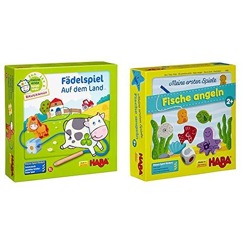 Haba - Meine erste Spielwelt Bauernhof Fädelspiel auf dem Land, liebevoll gestaltetes Lernspiel und Motorikspielzeug & Meine ersten Spiele Fische angeln, spannendes Angelspiel mit bunten Holzfiguren