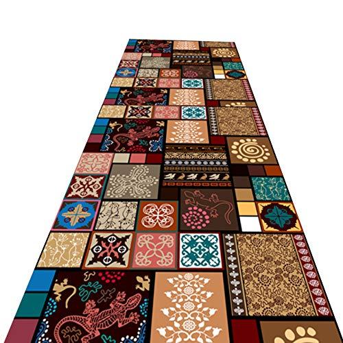 alfombra de Pasillo Tradicional Labor de Retazos Alfombra de Corredor, Clásico Largo Casual Alfombra de Alfombra para el Piso del Pasillo de Sala de Estar de Cocina, Antideslizante y Lavable