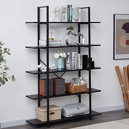 SUPERJARE 5-Shelf Industrial Bookshelf, Open Etagere Bookcase with Metal Frame, Rustic Book Shelf, Storage Display Shelves, Wood Grain - Black