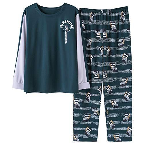 Pyjamas Herren Baumwolle Herbst Pyjama Set Top und Hose Langarm Pyjama Rundhals Nachtwäsche Nachtwäsche Plus Size XXXL