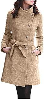 TIFENNY Women's Winter Wool Coats Lapel Wool Coat Trench Jacket Irregular Button Neck Long Sleeve Overcoat Outwear