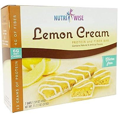 NutriWise - Divine Lemon Cream Protein Diet Bar | 7/Box | Gluten Free, High Fiber, Low Calorie, Low Carb, Low Fat, Low Sugar