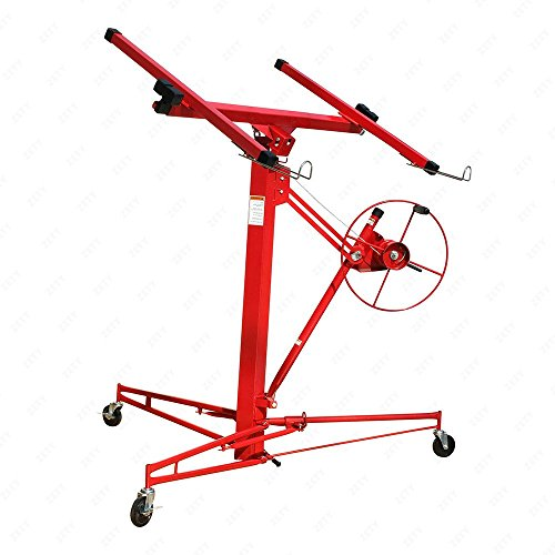 Heavy Duty Drywall & Panel Lift Hoist Professional Red 11Ft Jack Caster Lockable Tool
