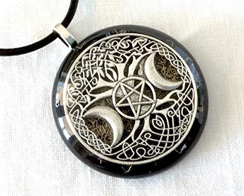 Orgone pendant necklace Celtic Tree of Life & Pentacle, Black Tourmaline and Shungite. EMF protection. Made in USA