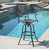 BELLEZE Outdoor Cast Aluminum Swivel Bar Stool w/Footrest Patio Furniture, Bronze...