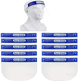 10 Pack Safety Face Shield, All-Round Protection Headband with Clear Anti-Fog Lens, Lightweight Transparent Shield with Stretchy Elastic Band