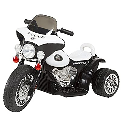 3 Wheel Mini Motorcycle Trike for Kids, Battery Powered Ride on Toy by Rockin ' Rollers – Toys for Boys and Girls, 2 - 5 Year Old – Police Car from Trademark Global - Toys