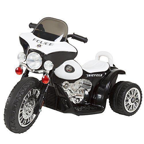 3 Wheel Mini Motorcycle Trike for Kids, Battery Powered Ride on Toy by Rockin' Rollers – Toys for Boys and Girls, 2 - 5 Year Old – Police Car