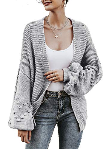 Simplee Women's Oversized Lantern Sleeve Loose Cozy Cable Knit Cardigan Sweaters (8, Light Gray)