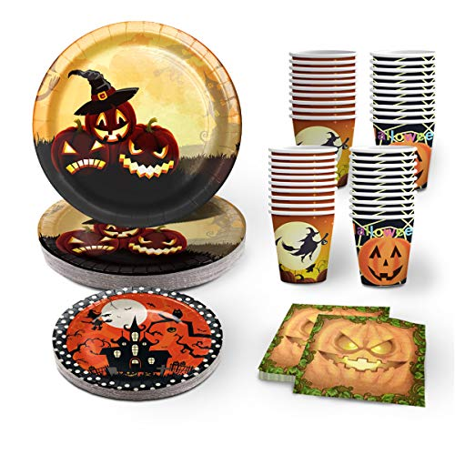 100 PCS Frightfully Halloween Party Supplies Disposable Dinnerware Set Dinner Paper Plates, 7-inch plates(20pcs), 9-inch plates(20pcs) and paper cups(40pcs),Halloween dinner plate