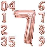Rosegold Luftballon Zahlen 7,Riesen 40 inch Zahlen Folienballon für Jubiläum Party Dekoration,Geburtstagsdeko