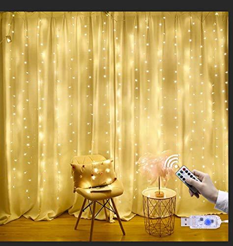 Guirlandes Lumineuses Rideau, EVILTO 3m*3m 300 LEDs USB Guirlande d'Eclairage avec Télécommande et Fonction de Chronométrage 8 Modes parfait pour Decoration de Fenêtre, Fête, Jardin - Blanc Chaud