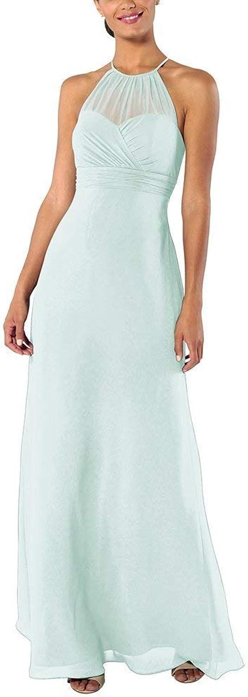 YnanLi Dress ALine Halter Neck Bridesmaid Dresses Long Wedding Party Evening Gown