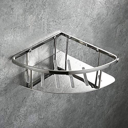 Carrito de ducha Plata Inoxidable Acero inoxidable Estante de esquina de baño Estantes Carrito de ducha Organizador Soporte Canasta triangular montada en la pared para baño Lavatorio Inodoro Happy