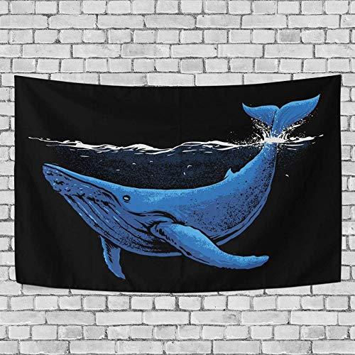 JXZIARON Tapiz Art Paño para Colgar en la Pared Impresión HD Cocina Dormitorio Sala de Estar Decoración,Fondo Exclusivo de Ballena Azul Gigante bajo el mar para 60x40 Pulgadas