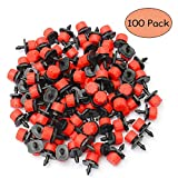 Kalolary 100Pcs 360 Degree Adjustable Irrigation Drippers Sprinklers 1/4 Inch Emitter Dripper Micro Drip Irrigation Sprinklers for Watering System