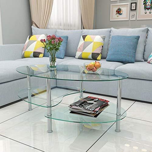 Generic bles C - Juego de mesa de cristal transparente con diseño de estantería ovalada cromada...