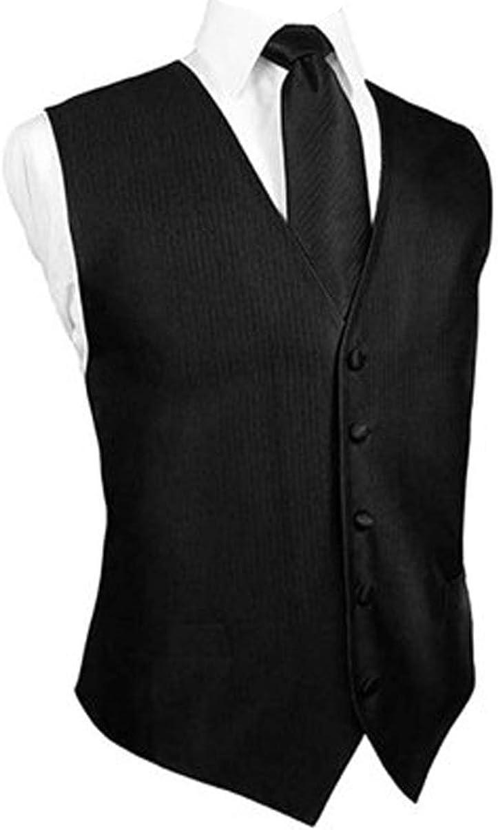 Black Faille Silk Tuxedo Vest, Long Tie & Pocket Square Set