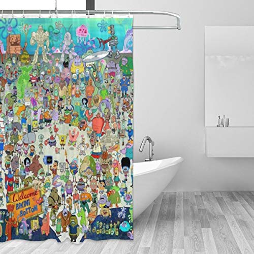 HAOHAODE Spongebob Schwammkopf Duschvorhang Wasserdicht und Spaß Badezimmer Dekoration 152 x 183 cm 12 Stück Kunststoffhaken
