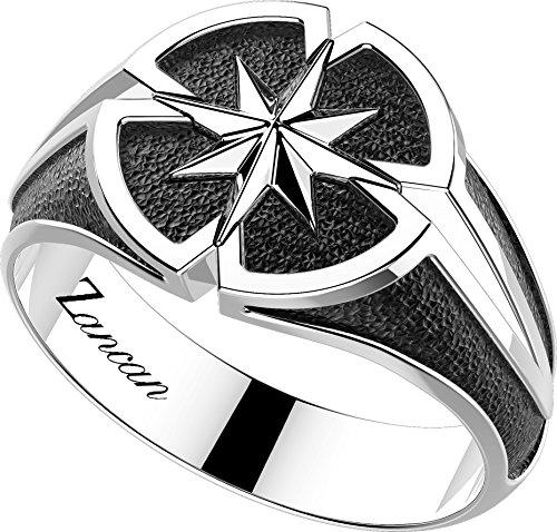 anello uomo rosa dei venti in argento