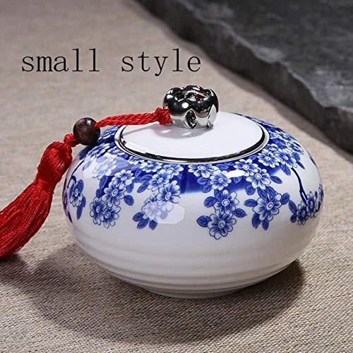 YVX Pot de Stockage de thé en Porcelaine Bleue et Blanche Accessoires de Service à thé Kung Fu Scellés Boîtes à thé Caddies à thé Café en Grains Boîte à café, Un Grand Style (Couleur: Un Petit s