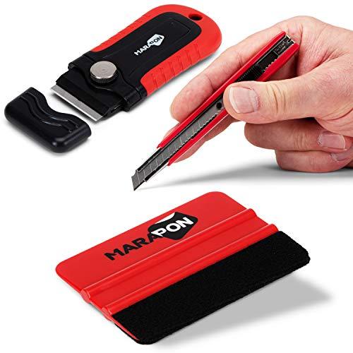MARAPON® Rakel Set für Fensterfolien - Hochwertiges Rakel mit Cutter-Messer und Edelstahl-Lineal - Folierungswerkzeug für Folierer - Rakel für Folie