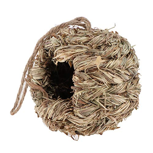 Serenable Handwoven Straw Bird Nest, Hand Woven Hanging House, Outside Roosting Pocket Nest Provides Shelter for Finch & Canary - B:Round Grass