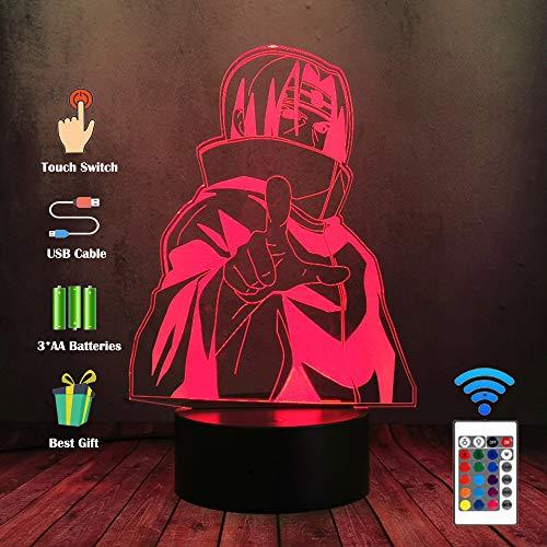 Lampe de bureau Veilleuse LED 3D Uzumaki Naruto Sasuke Itachi avec lampe de bureau 16 couleurs tactile à distance lampe de table, Home Kid bébé chambre éclairage cadeau Decor