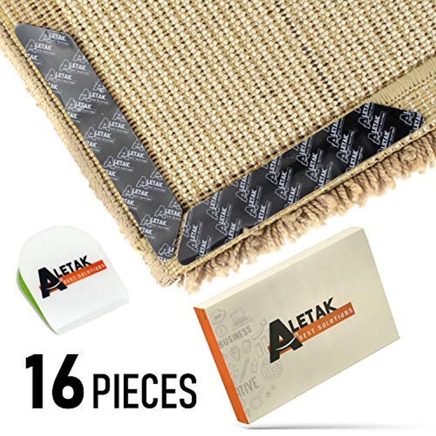Anti Curling and Anti Slip Rug Gripper - Bonus Phone Sticker Holder - 3M Premium Carpet Gripper Tape - Keeps Your Rug in Place and Makes Corners Flat - 16 pcs Large Size
