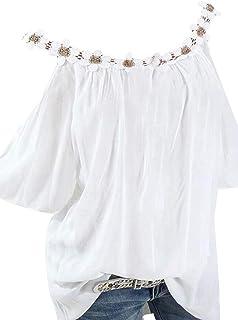 FSSE Women Summer Cold Shoulder Loose Short-Sleeve Plus Size T-Shirt Tee Blouse