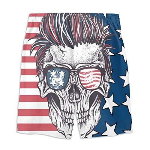 Vizor Boys Teens Swim Trunks Cool Sunglasses Skull USA Flag Quick Dry Waterproof Surfing Summer Drawstring Elastic Waist