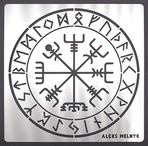 Aleks Melnyk #63 Metal Stencil/Vegvisir Viking Compass/Celtic Symbols, Runes/Runic Wayfinder/Magick Sigil for Protection Stencil 1 PCS/Template for Painting, Wood Burning, Pyrography and Engraving