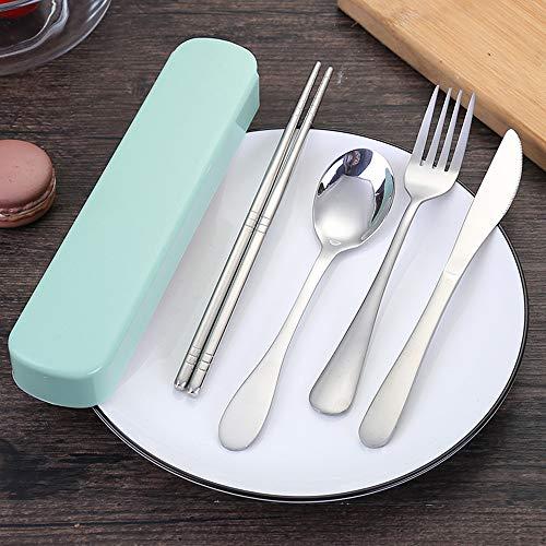 Fineday 4 Pcs Portable Chopsticks Fork Spoon Travel Cutlery Set Portable Travel Silverwa, Kitchen,Dining & Bar, Home & Garden (GN)