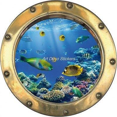 StickersNews Adesivo Oblò Trompe-l' œil Pesci Tropicali H348, 30x30cm