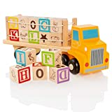 Milly & Ted Camión de Juguete de Bloques de Madera Cartas educativas y Cubos de imágenes