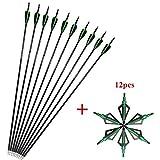 SHARROW 12pcs Flechas de Carbono 30.5 Pulgadas Spine 500 para Arco Compuesto Recurvo Flechas de Caza (Verde+ 12pcs Broadhead)