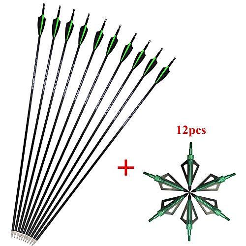 SHARROW 12x Carbonpfeile 30.5 Zoll Bogenpfeile Jagd Pfeile für Bogen Spine 500 für Recurvebogen Compound Bogen (Grün+12pcs Broadhead)