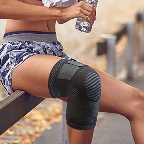 Kniebandage kniebeschermer, instelbaar, sportcompressie, kniebandage, sportkniebandage, voetbal, joggen, ademend, kniebeschermer, kniesteun volleybal dames en heren (M, zwart)