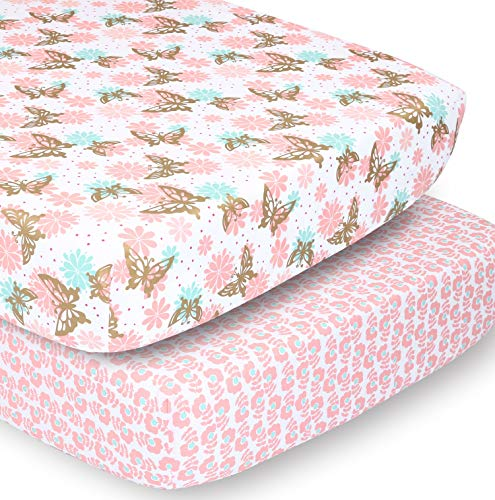 The Peanutshell Crib Sheet Set for Baby Girls | Pink and Gold Butterfly & Pink Ditsy Floral | 2 Pack Set