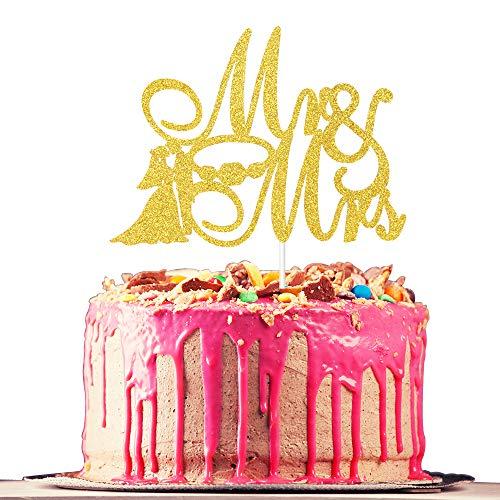 Mr. & Mrs. Cake Topper, Engagement, Bridal Shower, Wedding Anniversary, Bachelorette Party, Wedding Party Decoration Supplies, Gold Glitter