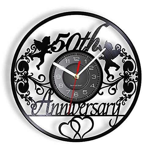 Reloj de Pared con Disco LP de Vinilo de 50 Aniversario, Corona...