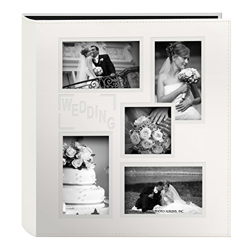 Pioneer Collage Frame Embossed Wedding Sewn Leatherette Cover Photo Album, Ivory