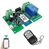 Módulo de relé inalámbrico Abrepuertas WiFi interruptor 1 canal avance lento/autobloqueo relé DIY control remoto de puertas garaje con control remoto RF de 433 Mhz compatible con Alexa, Google IFTTT