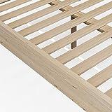Keebgyy Somier de madera rústica con patas de apoyo, cama de madera maciza de abeto para dormitorio, color de madera natural, 90 x 200 cm