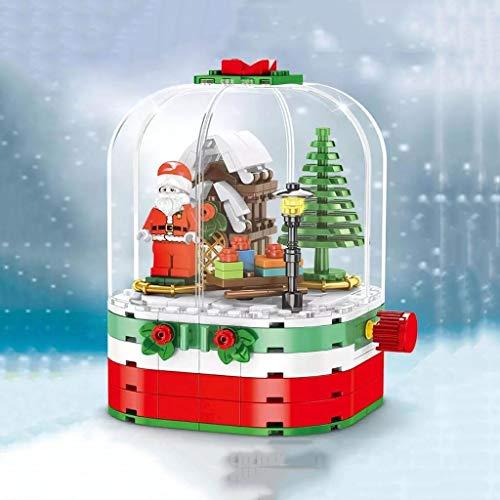 JJZXD Música de Navidad árbol de la Caja de Papá Noel Cereza Sakura rotación de Caja de Bloques de construcción Ladrillos DIY Juega el Regalo Niños Educativo (Color : B)