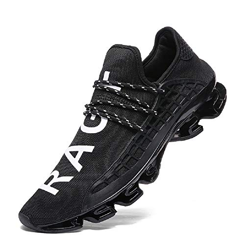 XIDISO Mens Running Shoes Womens Slip On Blade Mesh Fashion Men's Sneakers Athletic Tennis Sports Cross Training Casual Walking Shoe for Men Black