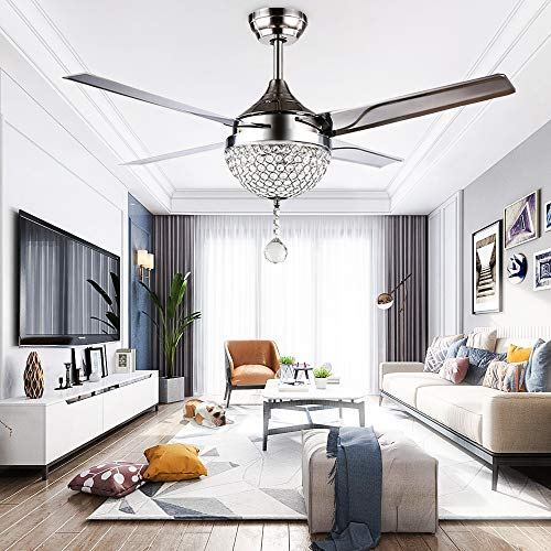 RainierLight Modern Crystal Ceiling Fan Lamp LED 3 Changing Light 4 Stainless Steel Blades with Remote Control for Living Room/Bedroom 44-Inch