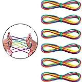CZ Play Marque Francaise Jeux de Ficelle-Garantie A Vie-Elastique Jeux Doigt Lot DE 6 Corde a Doigt (Cats Cradle) Amusant pour Cadeau Filles et Garcons-Fil Multicolore (Rainbow Rope) (Lot de 6)